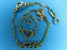 Gold Charm Bracelet 10K Solid Gold Heart Angel Love.. 7 Inches Long .. 6 Mm Wide