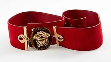 VERSACE Cherry Red Suede Gold Bracelet Size 100 MSRP $725
