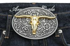 Belt Buckle Men Silver Metal Western Fashion Gold Bull Texas Long Horn Cow Skull