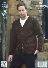 KNITTING PATTERN Mens Long Sleeve Cardigan/Jacket Chunky KC 4034