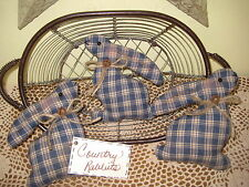 3 HANDMADE COUNTRY BLUE FABRIC EASTER RABBIT ORNIES BOWL FILLERS HOME DECOR