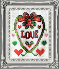 Cross Stitch Kit Design Works Christmas Love Heart Picture w/Frame & Mat #DW514
