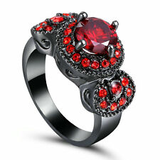 Size 6 Black Gold Plated Red Stone Ring Wedding Cluster Cocktail Anniversary