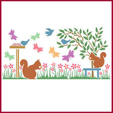 SQUIRREL GARDEN BORDER STENCIL - CHILDREN'S STENCIL - The Artful Stencil