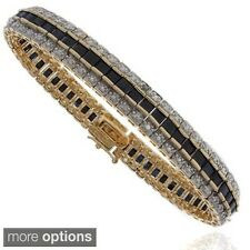 Dolce Giavonna 18k Gold Overlay Sapphire and Diamond Accent Tennis Bracelet with
