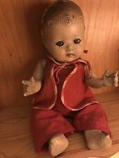 "Vintage 11"" Composition Spooky Creepy Baby Doll Antique Strung Doll"