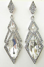 Silver Art Deco Drop Earrings Vintage 1920s Great Gatsby Bridal Diamante 30s B21