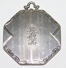 Large Antique Victorian/Art Deco Sterling Silver Ornate Etched Locket Pendant