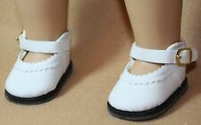 Doll Clothes fitting 18 inch American Girl Dolls White Suede Shoes with ZZ Trim
