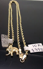 "New 10K Yellow Gold Elephant Charm With 10K Yellow Gold Rope Chain 22"" A3B4"