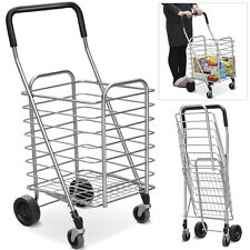 New Durable & Portable Lightweight Aluminum Folding Shopping Cart w/Swivel Wheel