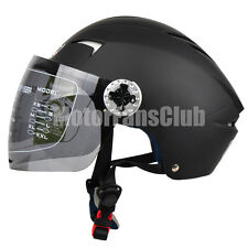 Matte Black Motorcycle Open Face Half Summer Helmet Full Face Visor Shield M-XL