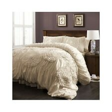 Ruffled Comforter Set Bedding Shabby Floral Chic King Ruched French Country Sham