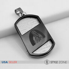 Stainless Steel Bible Scriptures VIRGIN MARY Dog Tag Pendant Black & Silver 13H