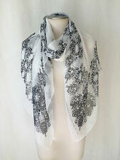 "THOMAS WYLDE 2012 Limited Edition.White & Black Chiffon Scarf, Shawl.75.0""X39.0"""