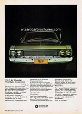 1970 CHRYSLER VF VG VIP VALIANT A3 POSTER AD SALES BROCHURE ADVERTISEMENT ADVERT