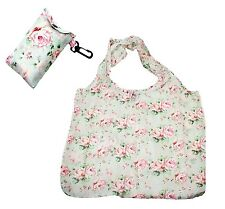 Floral / Flower Design Fold Up Shopping Bag In Pouch With Clip Attachment