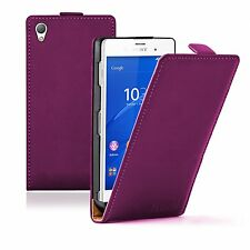 Ultra Slim VIOLET Leather Flip Case Cover Pouch Saver For Sony Xperia Z3 experia