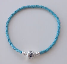 Light Blue Leather Bracelets/Bangle Fit 925 European Charms/Beads