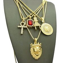 Red Ruby, Lion Crown, Ankh, Medusa, Plug Pendant Charm w/ Chains 5 Necklace Set
