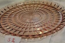 Vintage Pink Glass Cake Serving Plate Nice s2