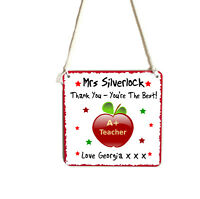 Personalised Teacher Hanging Apple Metal Plaque Sign Gift Thank You Present