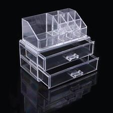 VANITY  Makeup Cosmetics Organizer Clear Acrylic 2 Drawers & Storage Mother Gift