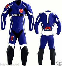 BLUE SUZUKI GSXR Motorcycle Leather Suit Racing Cowhide Leather Suit ONE PIECE