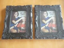 "2 x French Style Shabby Chic Black Ornate Photo Frame 5"" x 7"""