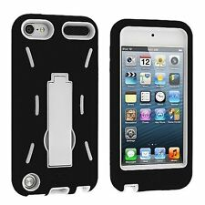 Hybrid Armor Case with Kickstand for iPod Touch 5th Gen - Black/White