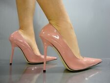 MADE IN ITALY HIGH HEELS POINTY PUMPS SCHUHE LEATHER DECOLTE PINK ROSE CIPRIA 44