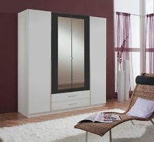 Qmax 'Skate' 4-Door Wardrobe. German Made Bedroom Furniture. White & Anthracite