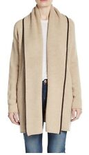 $495 NWT VINCE LEATHER-TRIMMED WOOL-BLEND CARDIGAN SWEATER SZ M BEIGE OATMEAL