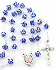 """NEW MADE IN ITALY  """"MEDIEVAL""""  STYLE BLUE GLASS BEAD SACRED HEART OF MARY ROSARY"""