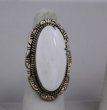 Navajo Indian Ring White Buffalo Turquoise Size 8 Sterling Silver Robert Shakey