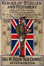 WW1 RECRUITING POSTER BRITISH ARMY ST JULIEN FESTUBERT GREAT WAR NEW A4 PRINT