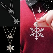 Silver Alloy Rhinestone Crystal Double Snowflake Pendant Sweater Chain necklace