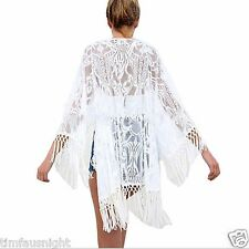 White Gypsy Crochet Lace Tassel Kimono Duster Honeymoon Beach Cover Up One Size