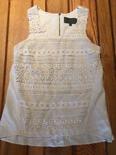 ANTHROPOLOGIE Sunday in Brooklyn White Lace Crochet Top Small