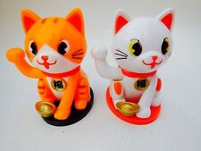 Lots 2 Lucky Cat Waving Solar Power Powered Chinese Oriental Fortune