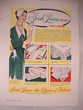 "Full Page 1953 Vintage Magazine Advert Irish Linen Guild ""It's Irish Linen Week"""