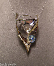 "SWAROVSKI ""CLEAR TRIANGLE"" CRYSTAL ELEMENT ULTIMATE PENDANT TWO TONED PLATED"