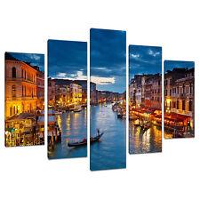 Split Canvas 5 Piece Blue Multi Panel Five Part Venice Italy 5068