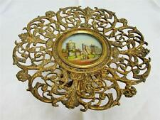ANTIQUE VICTORIAN SOUVENIR REVERSE PAINTED GLASS & BRASS TAZZA - WINDSOR CASTLE