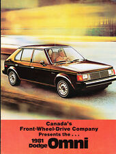 1981 Dodge Omni Original Canada Car Sales Brochure Catalog