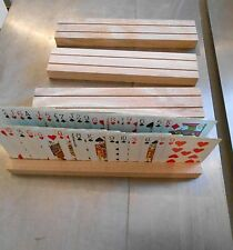 Set of 4  Oak Hand Crafted  2 Row Playing Card Holders