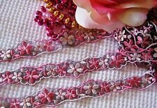 Amazing pink/coffee mesh embroidery lace trim/ribbon - price for 1 yard