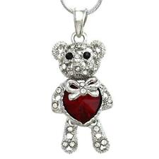 Mothers Valentine Day Gift Teddy Bear Necklace Heart Pendant Charm for Mom Girl