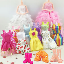 Lot 20 Items = 10 Dresses+10 Shoes Wedding Party Clothes Wedding For Barbie Doll