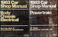 1983 Lincoln Town Car and Mark VI Repair Shop Manual Set 83 Original OEM Service